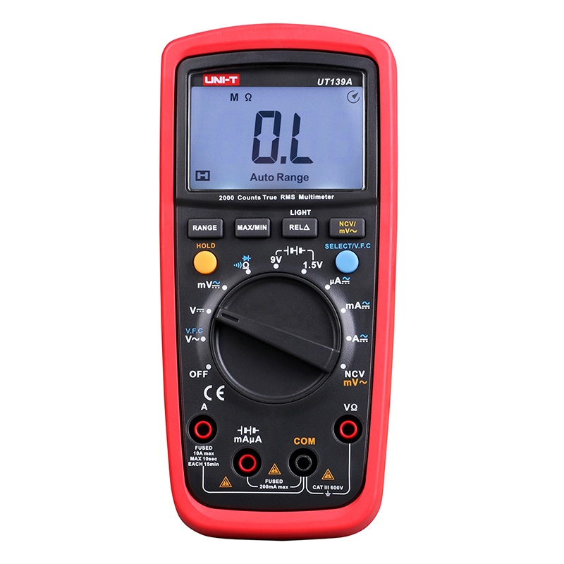 UT139A True RMS Digital Multimeter Auto Range AC/DC Amp/Volts Ohm Tester with Data Hold, NCV,and Battery Test UNI-T