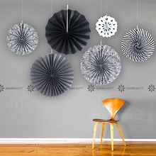 Black And White Party Decor 6pcs/set Paper Fan Rosettes Backdrop For adult Birthday Graduation Decorations Supplies