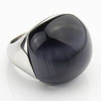 LYCOON Moda 100% zadowolony duże naturalne kocie oczy kamień okrągły ball Pierścionki Ze stali Nierdzewnej 316L Szary opal kamień pierścień dla kobiety