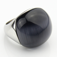 2015 Fashion Woman Cat S Eyes Jewelry Ring With High Quality 316L Stainless Steel And Grey