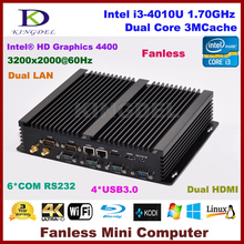 Fanless mini itx pc Intel Core i3 4010U 1.7Ghz CPU, 8GB RAM+64G SSD, 2 HDMI 2 Gigabit LAN 6 COM WiFi,embedded pc