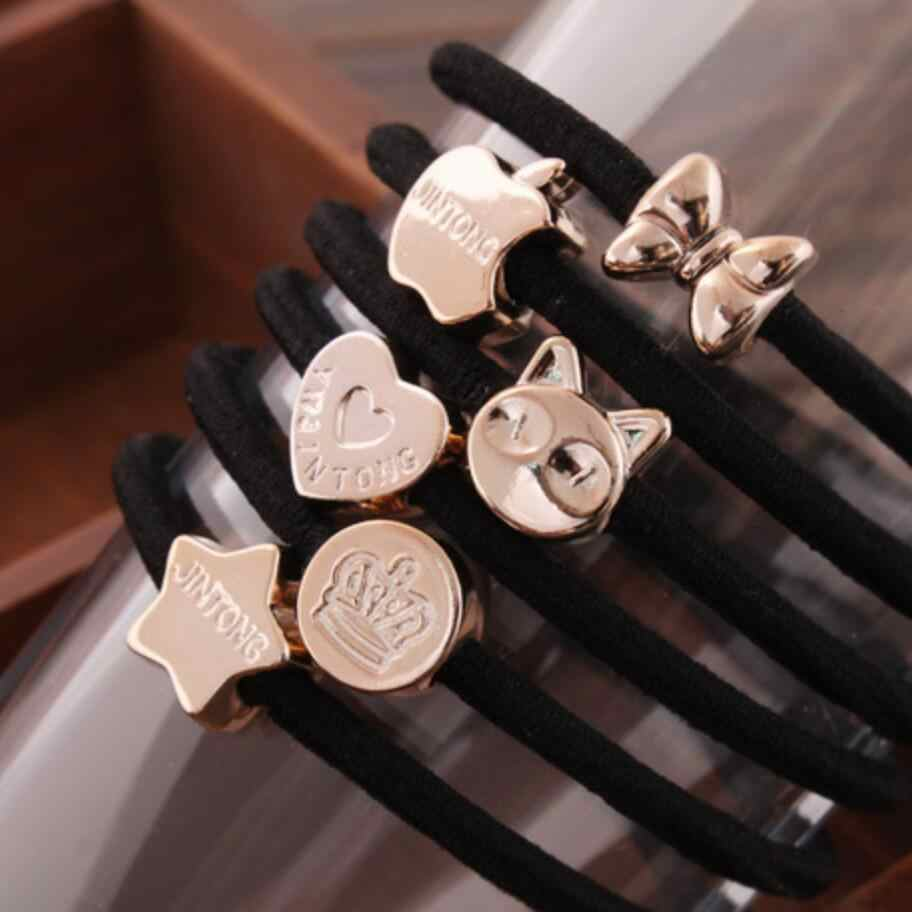 New Korean Hair Accessories For Women Bow Black Elastic Hair Rubber Bands Girls Lovely Hair Ropes Ponytail Holder Tie Gums