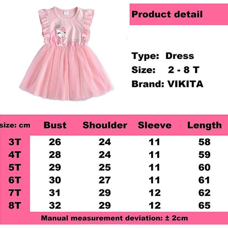 VIKITA בנות שמלת התלקחות שרוול ילדים Cartoon שמלות ילדי Unicorn Vestidos 2019 בנות שמלות קיץ ילדי שמלה עבור בנות
