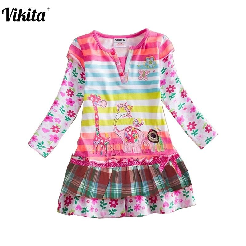 Մանրածախ Աղջիկների զգեստ 2018 Գարնանային բրենդի մանկական զգեստները մանկական զգեստների հագուստի կերպարները Princess Dress NEAT L323