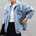 Джинсовая Куртка Женщины Тонкий Горный Хрусталь Жемчуг Бисером Джинсовые Дамы Элегантные Старинные Отверстие Пальто Куртки Casacos Feminino
