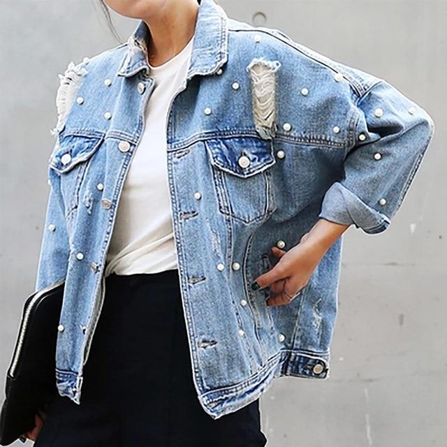 Denim Jacket Women Thin Rhinestone Pearl Beaded Denim Ladies Elegant Vintage Hole Jacket Coat  Casacos Feminino