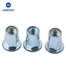 10Pcs M4 M5 M6 M8 Zinc Plating Carbon Steel Rivnut Flat Head Hexagon Riveted Nuts Hex Insert Cap Rivet Nut HW144