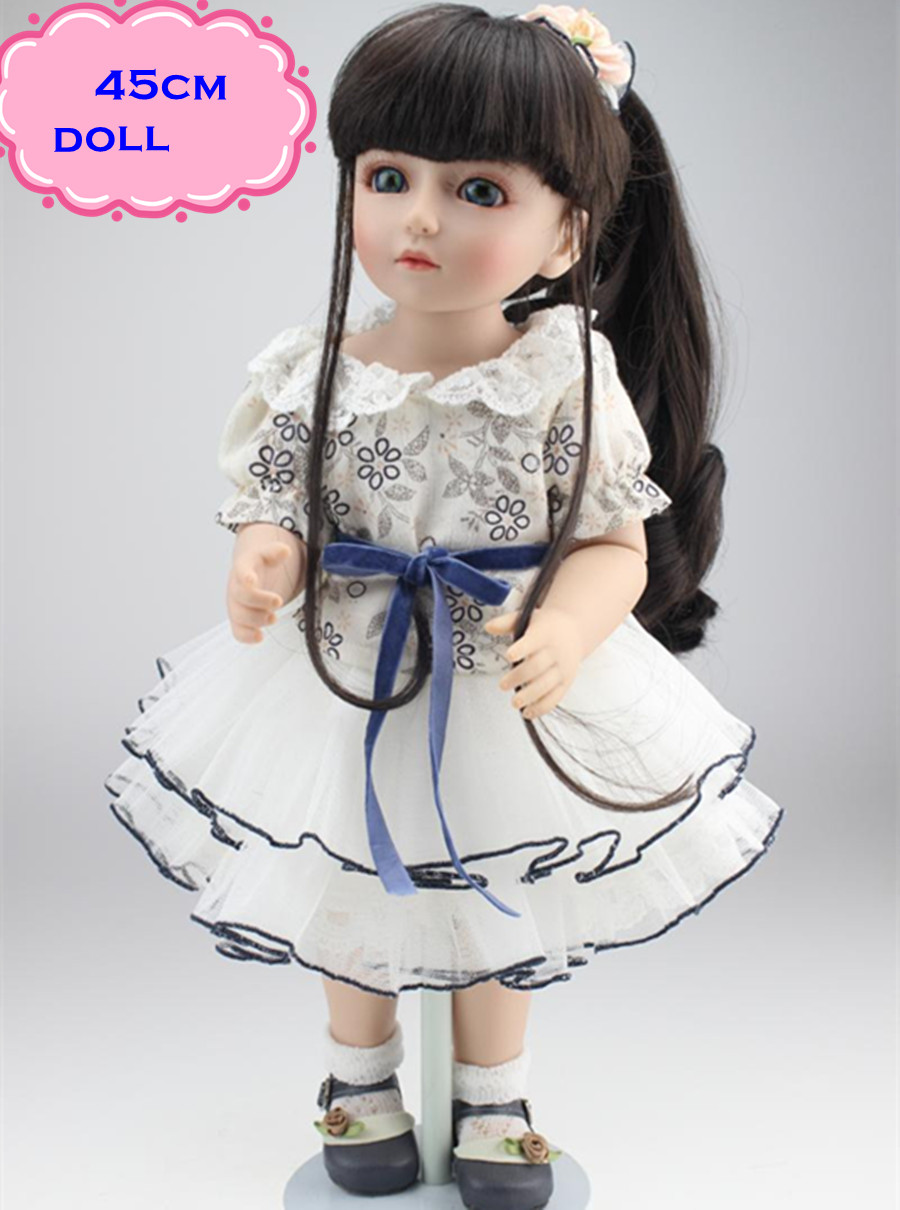 Most Popular 18inch SD/BJD Doll In Pretty Skirt Like A Princess About 45cm Full Silicone Reborn Baby Dolls For Best Kids Toys doll eyelashes eye line strips for 1 3 1 4 1 6 bjd dolls or reborn doll accessory doll big pretty eye make up accessories