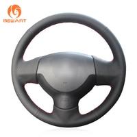 MEWANT Black Genuine Leather Steering Wheel Cover for Mitsubishi Lancer X 10 2007 2015 Outlander 2006 2013 ASX 2010 2013