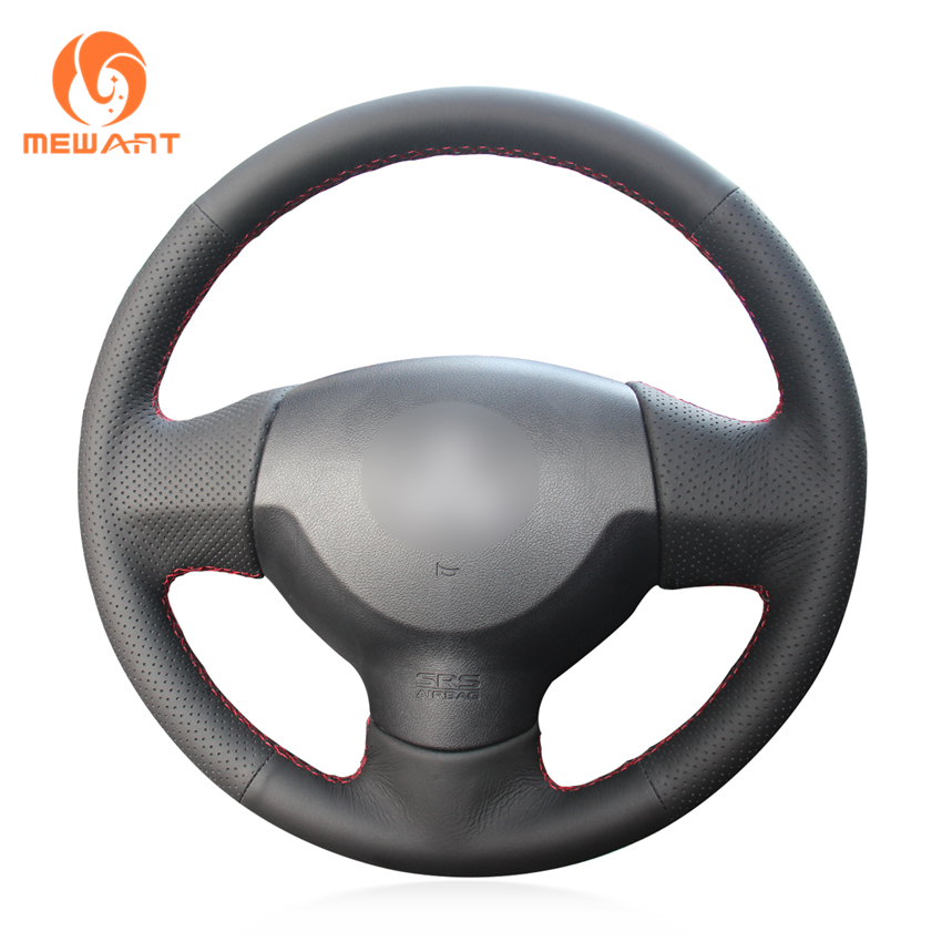 MEWANT Black Genuine Leather Steering Wheel Cover for Mitsubishi Lancer X 10 2007-2015 Outlander 2006-2013 ASX 2010-2013 steering wheel cover for mitsubishi outlander 2013 2014 mirage 2014 asx l200 2015 2016 braid on the steering wheel