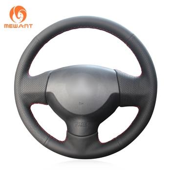 MEWANT Black Genuine Leather Steering Wheel Cover for Mitsubishi Lancer X 10 2007-2015 Outlander 2006-2013 ASX 2010-2013