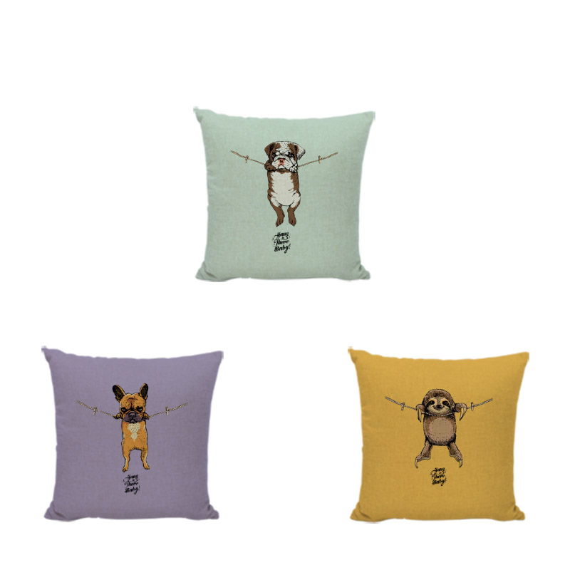 Cuteness Dog Cushion Cover Bulldog Hang on Baby Puppy Pug Boxer Sloth 45cm Decorate Living Room Office Couch Spring Pillowcase
