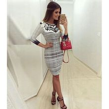 Sexy Women Casual Verband Bodycon Langarm Cocktail Mini Sommer Kleid