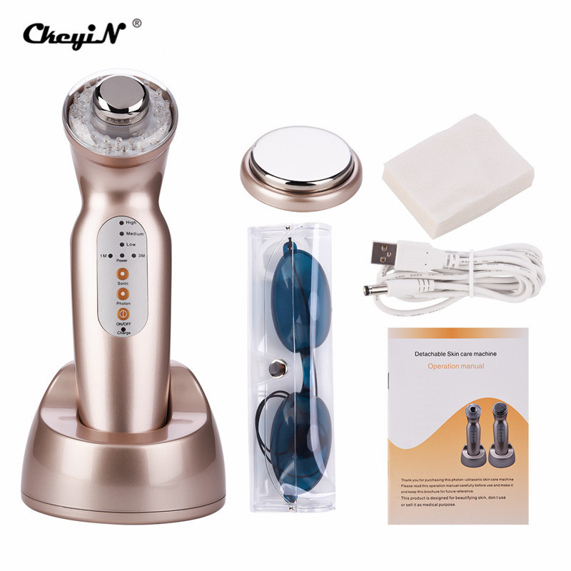 2 Massage Heads Ultrasound Vibration Colorful LED Photon Rejuvenation Machine Blackheads Removal Face Body Slimming Device P46