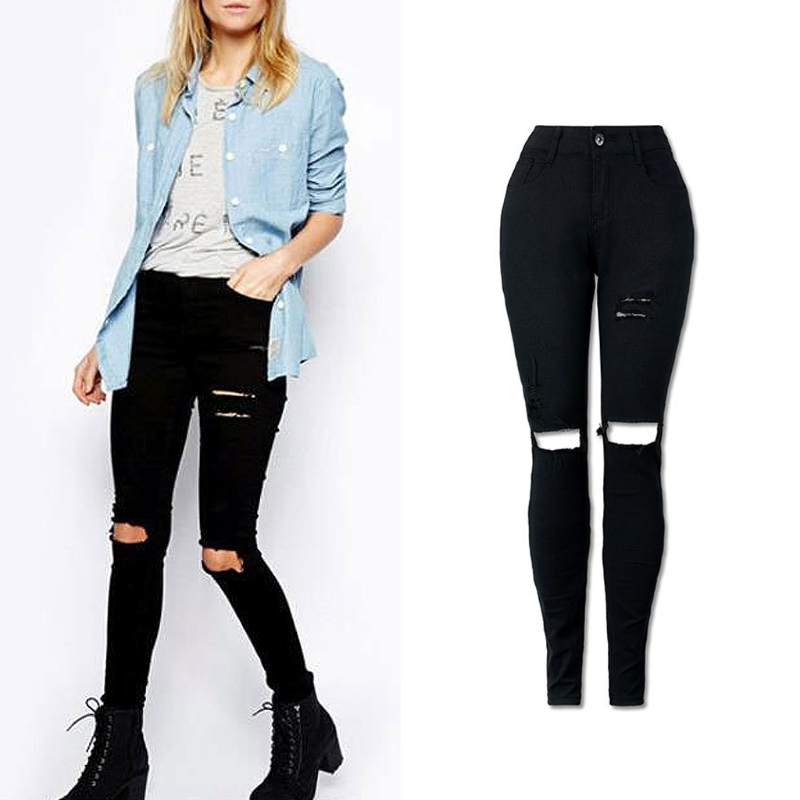 2017 Women Hole Ripped High Waist Jeans Skinny Pencil Denim Pants Black Vintage Fashion Solid New Casual Lady Girl Long Pants 2017 new fashion beading ripped jeans women high waist boyfriend style washed hole skinny jeans casual denim pencil pants