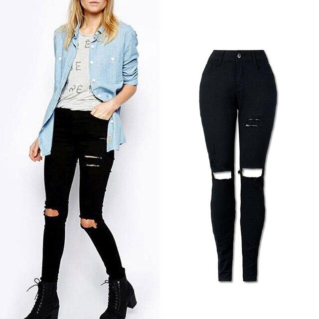 d53ff48888c4 2018 Femmes Trou Déchiré Taille Haute Jeans Skinny Crayon Denim Pantalon  Noir Mode Vintage Solide Nouvelle
