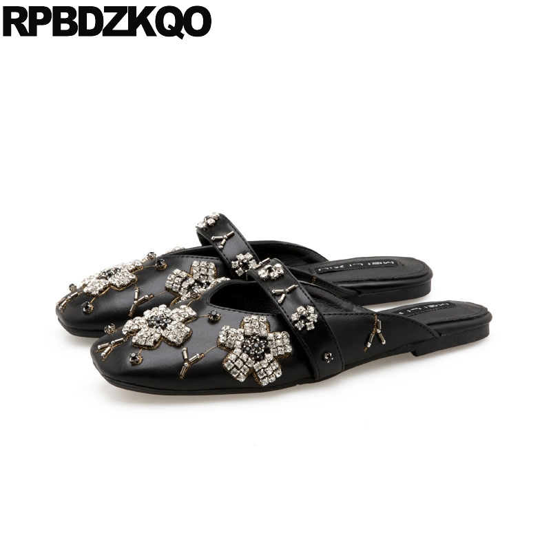 Black Rhinestone Italian Mules Mary Jane Wide Fit Shoes Ladies Sandals Square Toe Women Flats Slippers Slides Silver Crystal