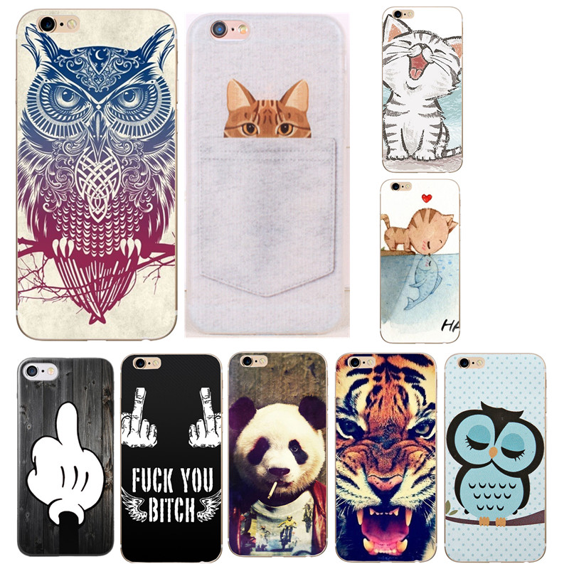 Animal Pattern Fundas Case For Apple iphone 6 6s 7 Plus 5S 5 SE 4 4S Case Tiger Owl Thin Silicon Coque Case Soft TPU Phone Cover