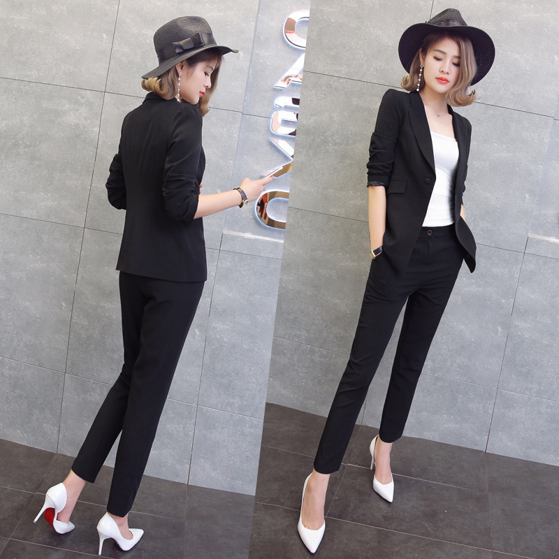 Suit female 2019 autumn temperament professional casual red suit jacket + nine pants elegant fashion two piece women's clothing-in Pant Suits from Women's Clothing    1