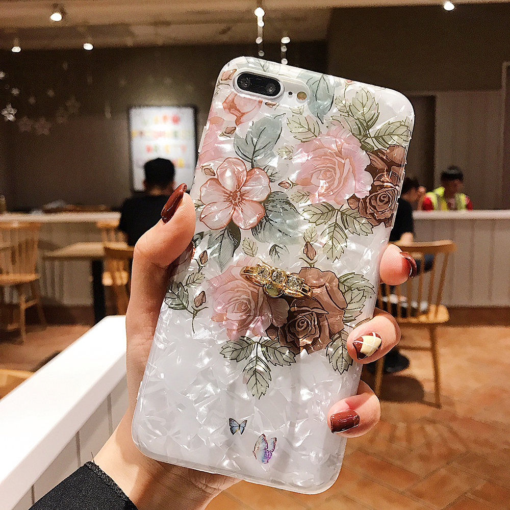 LOVECOM Retro Floral Ring Stand Phone Case For iPhone Models 13