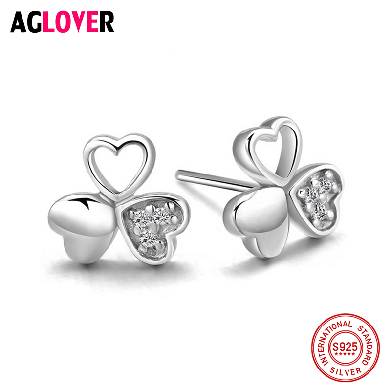 New Luxury Brand Four Leaf Clover Earrings For Women Real 925 Sterling Silver Heart Full CZ Stud Jewelry