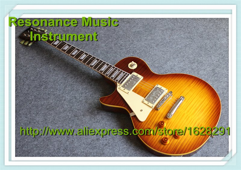 New Arrival LP Standard Electric Guitar Left Hand Red Sunburst With Yellow Binding new arrival guitar lp standard electric guitar hard case