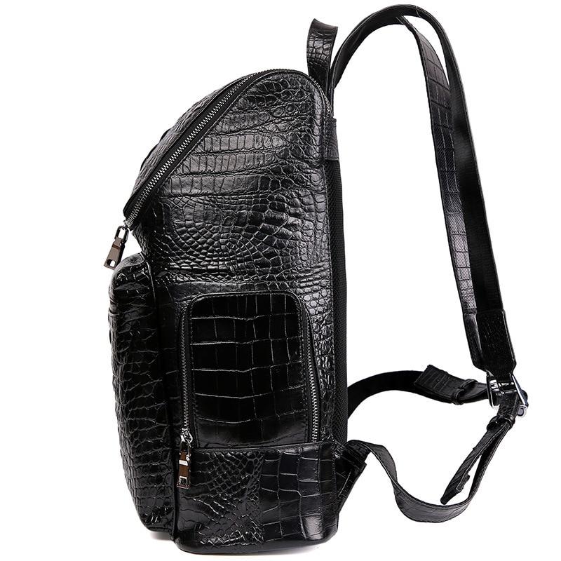 McParko luxe en cuir véritable sac à dos hommes vache sac à dos en cuir pour ordinateur portable motif Crocodile Design élégant Style sac à dos pour hommes - 3