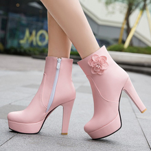 Womens Elegant Booties Waterproof High Heels Shoes New Female Platform Ankle Boots Thick Heel With Zipper Black Pink White Beige