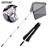 Goture 300cm 210cm 150cm Fishing Landing Net Nylon Mesh With Rubber Coating Durable Aluminum Telescoping Pole