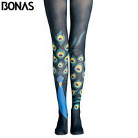 BONAS Peacock Pantyhose Women High Waist Black Tights Female Cotton Legins Meias Lady Party Streetwear Gothic