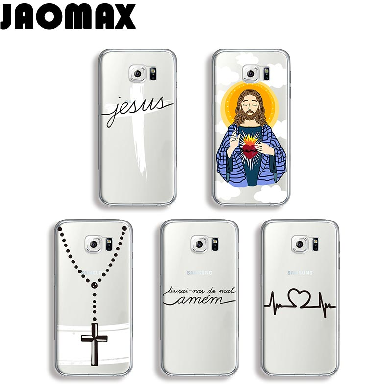 Jaomax Amen Amor Christian Jesus Design Case For Samsung Galaxy S8 S7 S6 S5 S4 S3 Edge Plus Silicone Transparent TPU Phone Cover