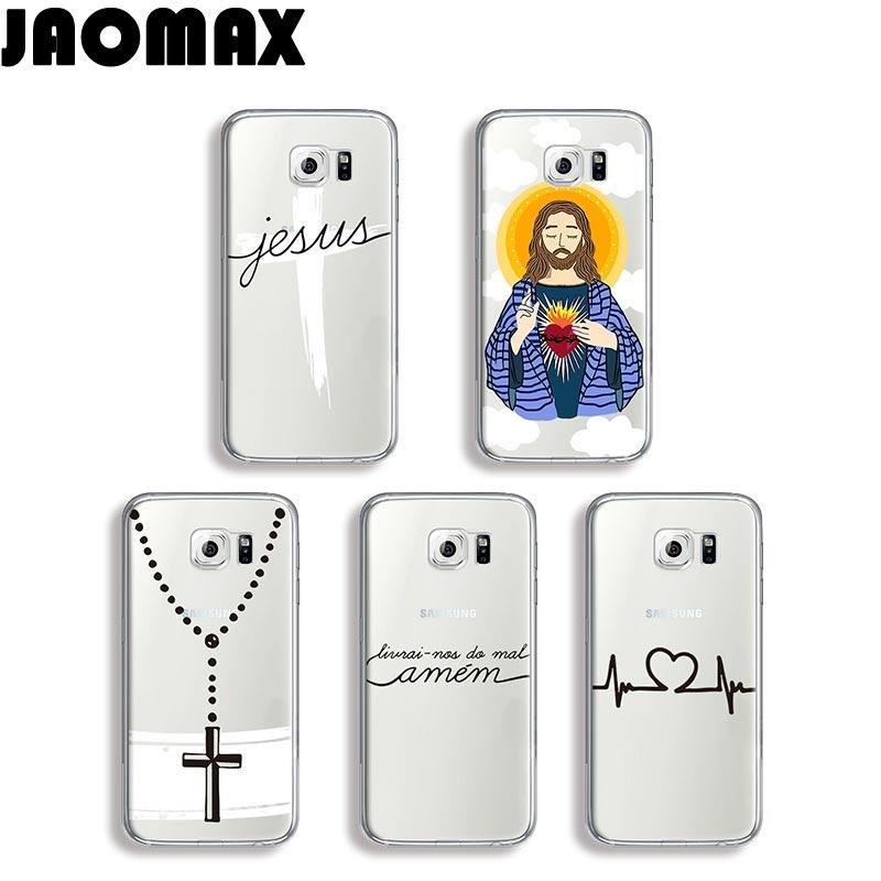 Jaomax Amen Amor Christian Jesus Design Case For Samsung Galaxy S8 S7 S6 S5 S4 S3 Edge Plus Silicone Transparent TPU Phone Cover