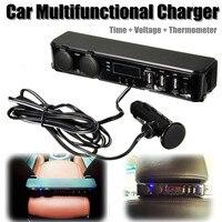 12V Car Back Seat Mount 3 Port USB Power Charger Cigarette Lighter Socket Adapter Charger + Digital Voltmeter LED Power Adapter