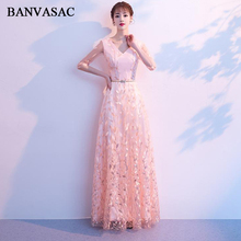 BANVASAC V Neck Crystal Sash 2018 A Line Long Evening Dresses Lace Appliques Illusion Half Sleeve Backless Party Prom Gowns
