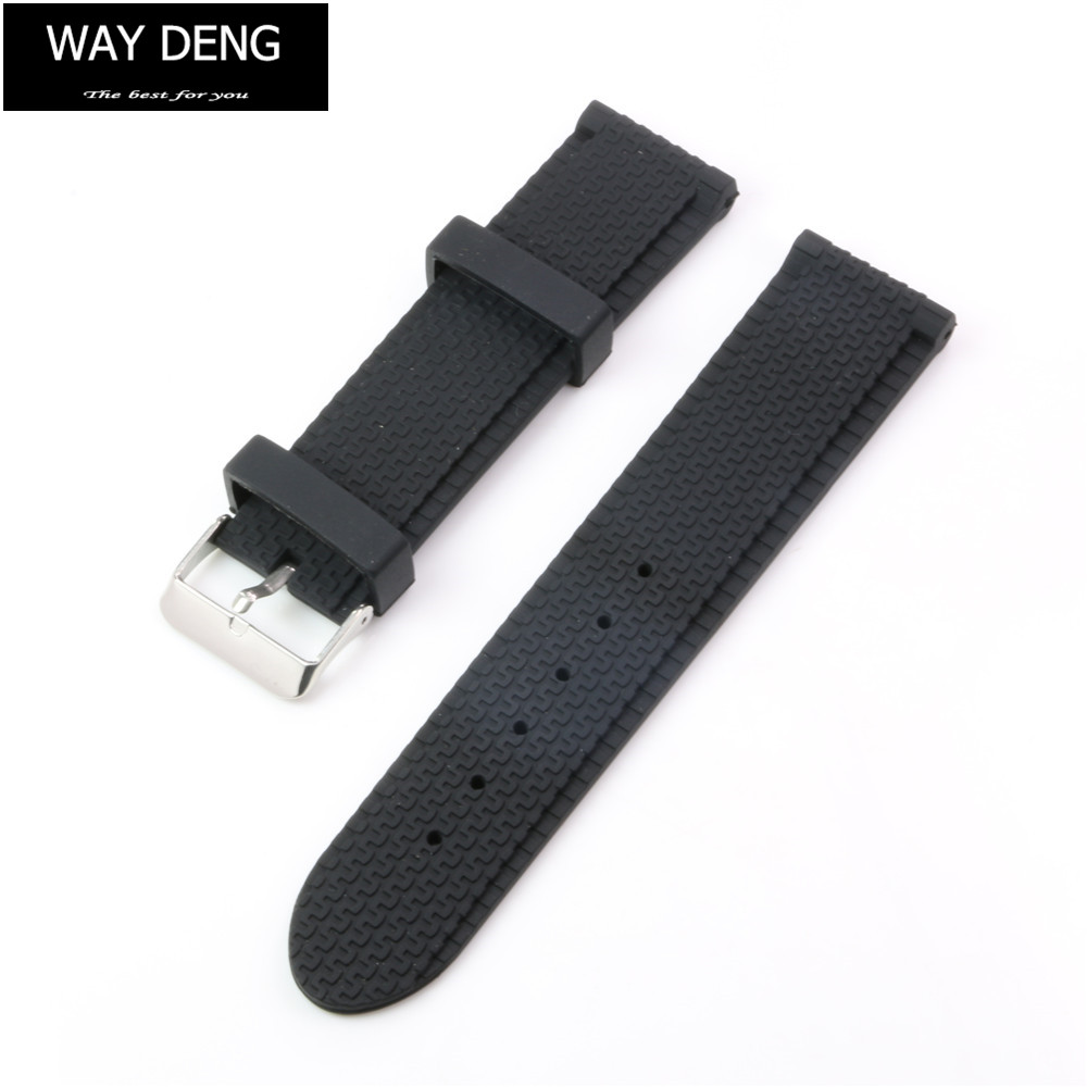 Way Deng - Men's Sports Waterproof Black Silicone Rubber Watch Band Strap Tire Pattern 18/20/22/24 MM Watchband - Y051 цена