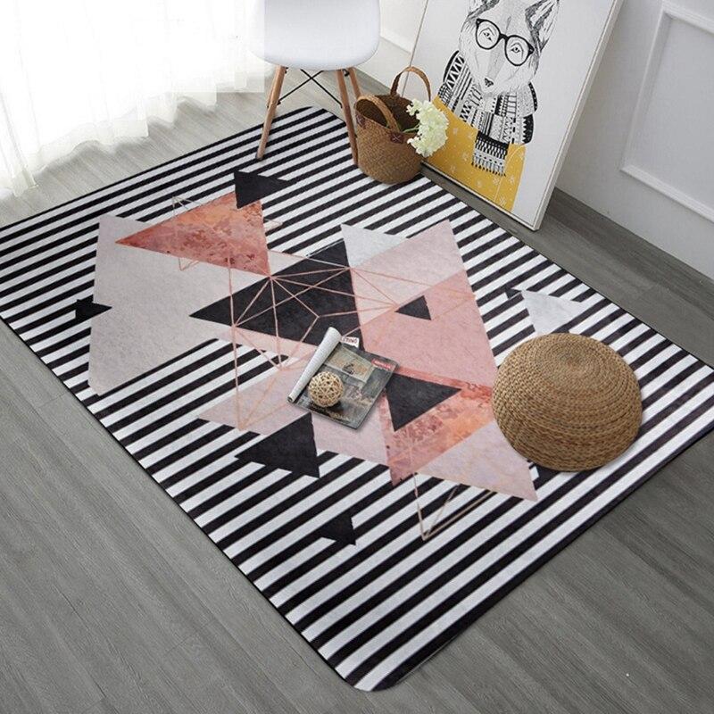 Tapis à rayures géométriques nordiques pour salon chambre tapis doux canapé Table basse tapis de sol étude enfants Tatami Tapete