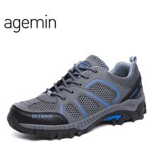 Agemin 가죽 캐주얼 신발 남자에 대 한 여름 Breathable 부드러운 남성 메쉬 신발 성인 산책 캐주얼 품질 빛 그물 신발 2018
