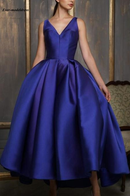 2019 Short Prom Dresses Tea-Length V-Neck Zipper V-Back Sleeveless Ball Gown Customized Formal Party Gowns Vestidos De Festa