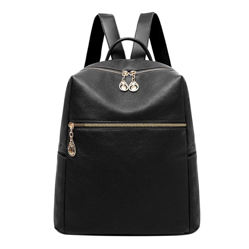 Simple Elegant Travel Casual Backpack Women Pure Color Pu Leather Student School Shoulder Bag Classic Girls Pu Simple Backpack