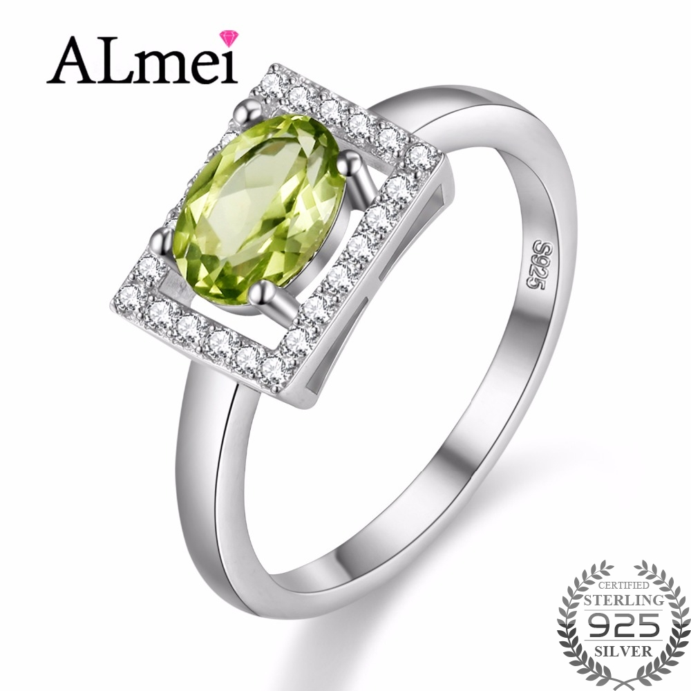 Uloveido Diamond Jewelry 1ct Peridot Ring 925 Sterling Silver Wedding Rings for Women Gift with Natural Green Stone 40%off FJ056