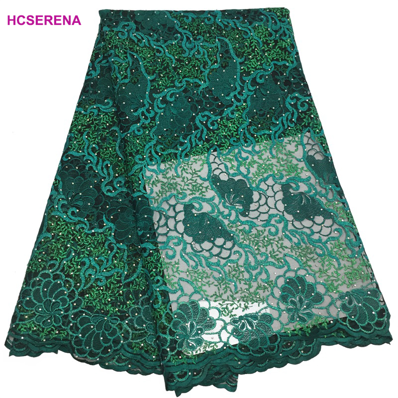 Green color High quality french lace african lace fabric nigerian lace fabrics for wedding 2018 5yards