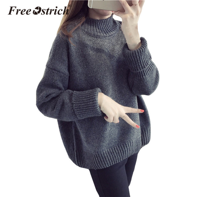 5a4fca4b3 Free Ostrich Women Autumn Winter Sweater Turtleneck Pullover Long Sleeve  Oversize Sweater Knitted Warm Pull Femme Poncho Oct2032