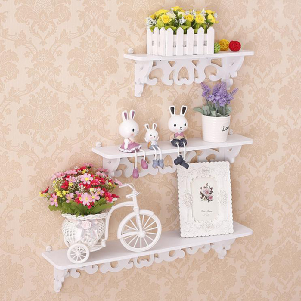 One Set Three Pieces Different Size White Wood Display Wall Shelf Storage Ledge Home Dector simple cleaning and durability