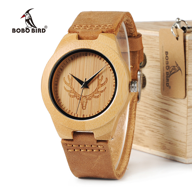 BOBO BIRD WM08 Mens Deer Head Design Buck Bamboo Wooden Watches Luxury Wood Watches With Soft Leather Strap for Men Women