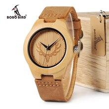 Bobobird RT0459 Mens Deer Head Diseño Buck Relojes de Relojes de Lujo de Bambú de Madera de Bambú de Madera Con Reloj de Cuarzo de Cuero