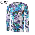 CW new European and American wind 2017 men's T-shirt in the plants and stereoscopic printing men long sleeve round neck T-shirt