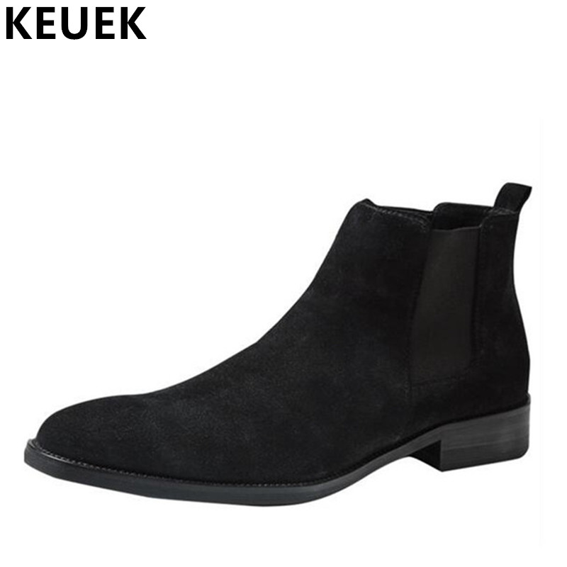 Luxury Vintage Men Chelsea Boots Genuine Leather Breathable Ankle Martin boots Spring Autumn Pointed Toe Slip-On Boots 033 mycolen spring autumn men genuine leather chelsea boots vintage pointed toe ankle outdoor boots wear resistant male shoes