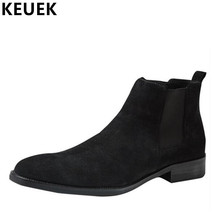 Luxury Vintage Men Chelsea Boots Genuine Leather Breathable Ankle boots Spring Autumn Pointed Toe Slip-On Boots 033
