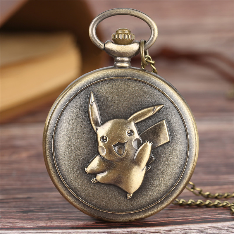 Kawaii Pikachu Pocket Watch Japanese Anime Pokemon Theme Slim Necklace Lovely Cartoon Clock Cute Gifts For Boys Girls Birthdays