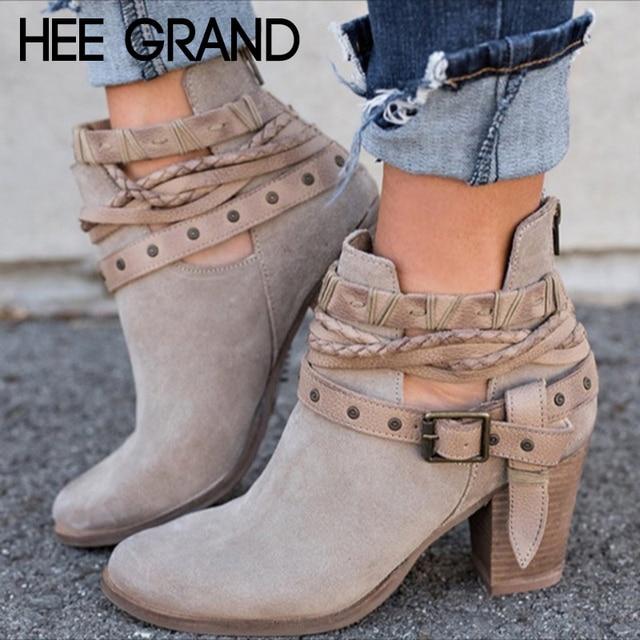 HEE GRAND Herbst Frauen Verband High Heels Stiefel Vintage Kurze Stiefel Knöchel Schuhe Flock Leder Stiefel Mujer Schuhe XWX6884